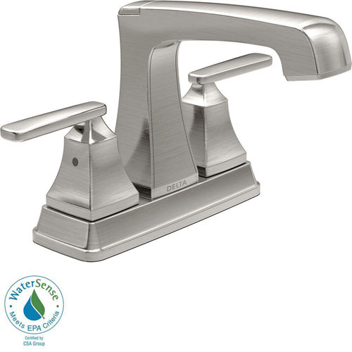 Delta Ashlyn 4 inch Centerset 2-Handle High-Arc Bathroom Faucet in Stainless Steel Finish 685346