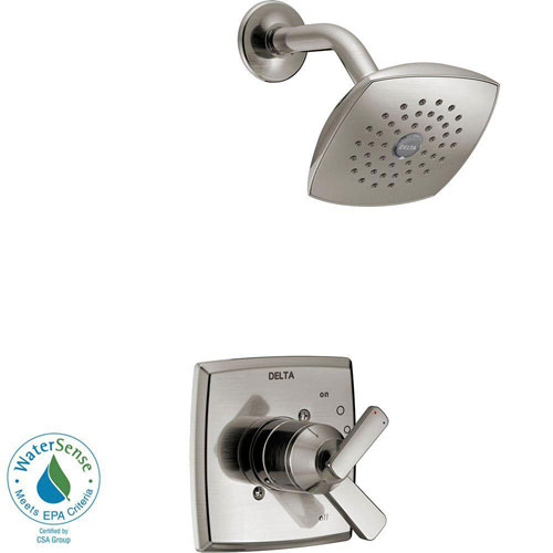 Delta Ashlyn 1-Handle Pressure Balance Shower Faucet Trim Kit in Stainless Steel Finish (Valve Not Included) 685388