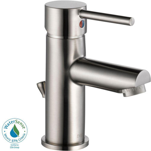 delta trinsic single hole 1 handle bathroom faucet in stainless steel