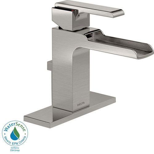 Delta Ara Single Hole 1-Handle Open Channel Spout Bathroom Faucet in Stainless with Metal Pop-up 704308