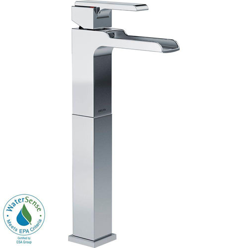 Delta Ara Single Hole 1-Handle Open Channel Spout Vessel Sink Bathroom Faucet in Chrome 704314