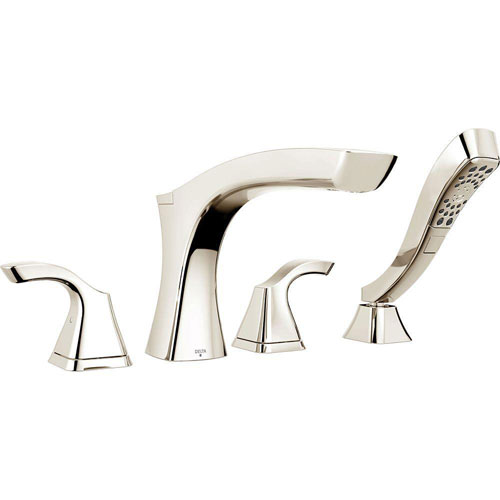 Delta Tesla 2-Handle Deck-Mount Roman Tub Faucet with Handshower in Polished Nickel Includes Rough-in Valve D2575V