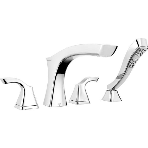 Delta Tesla 2-Handle Deck-Mount Roman Tub Faucet Trim Kit with Handshower in Chrome (Valve Not Included) 718208