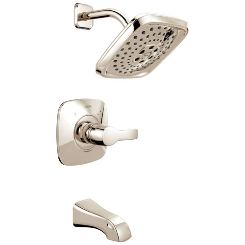 Delta Tesla H2Okinetic 1-Handle Tub and Shower Faucet in Polished Nickel Includes Rough-in Valve without Stops D2580V