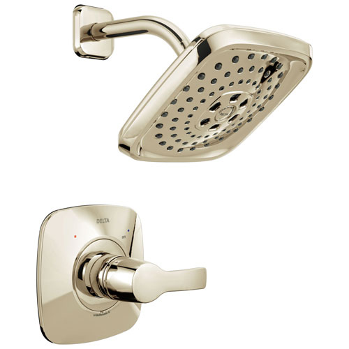 Delta Tesla H2Okinetic 1-Handle Shower Faucet in Polished Nickel Includes Rough-in Valve with Stops D2587V