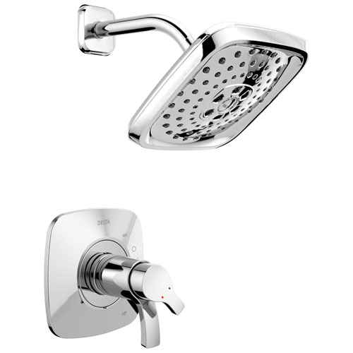 Delta Tesla H2Okinetic 1-Handle Shower Faucet in Chrome Includes Rough-in Valve with Stops D2595V