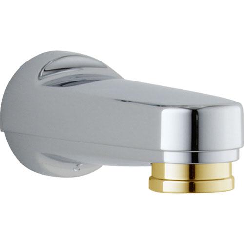 Delta Chrome & Polished Brass Modern Pull-Down Diverter Tub Spout 864496