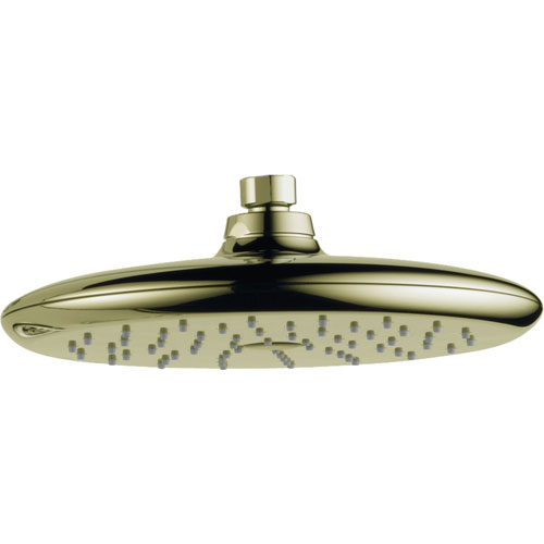 Delta Rizu Modern 1-Spray Large 8-3/4 in. Polished Brass Rain Showerhead 571833