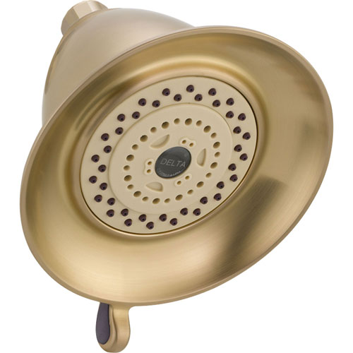 Delta 3-Setting Champagne Bronze Water-Efficient Touch-Clean Shower Head 571841