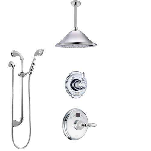 Delta Victorian Chrome Finish Shower System with Temp2O Control, 3-Setting Diverter, Ceiling Mount Showerhead, and Hand Shower with Slidebar SS1400110