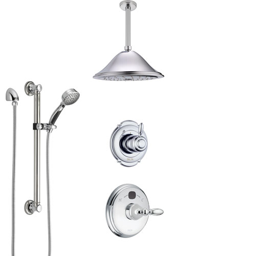 Delta Victorian Chrome Finish Shower System with Temp2O Control, 3-Setting Diverter, Ceiling Mount Showerhead, and Hand Shower with Grab Bar SS140011