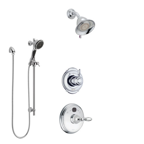 Delta Victorian Chrome Finish Shower System with Temp2O Control Handle, 3-Setting Diverter, Showerhead, and Hand Shower with Slidebar SS140018