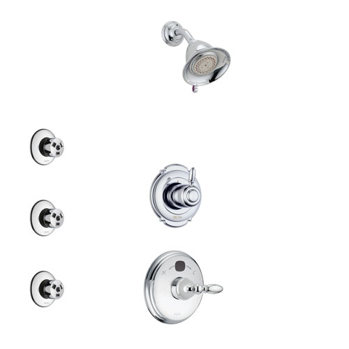 Delta Victorian Chrome Finish Shower System with Temp2O Control Handle, 3-Setting Diverter, Showerhead, and 3 Body Sprays SS140019