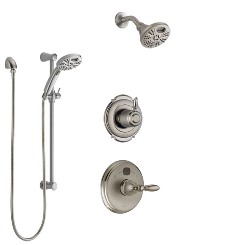 Delta Victorian Stainless Steel Finish Shower System with Temp2O Control, 3-Setting Diverter, Showerhead, and Hand Shower with Slidebar SS14001SS1