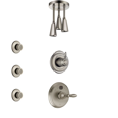 Delta Victorian Stainless Steel Finish Shower System with Temp2O Control, 3-Setting Diverter, Ceiling Mount Showerhead, and 3 Body Sprays SS14001SS6