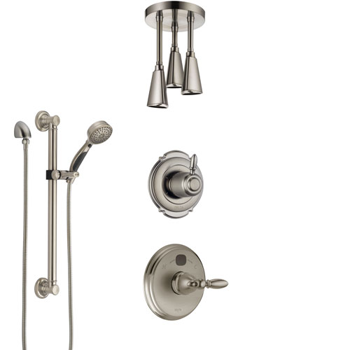 Delta Victorian Stainless Steel Finish Shower System with Temp2O Control, Diverter, Ceiling Mount Showerhead, and Hand Shower with Grab Bar SS14001SS7