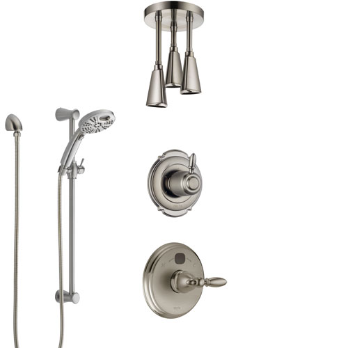 Delta Victorian Stainless Steel Finish Shower System with Temp2O Control, Diverter, Ceiling Mount Showerhead, and Hand Shower with Slidebar SS14001SS8