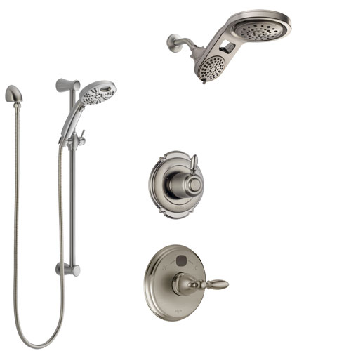 Delta Victorian Stainless Steel Finish Shower System with Temp2O Control Handle, Diverter, Dual Showerhead, and Hand Shower with Slidebar SS14001SS9