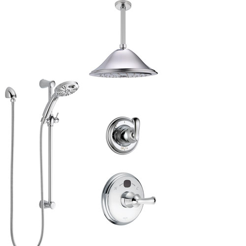 Delta Cassidy Chrome Finish Shower System with Temp2O Control, 3-Setting Diverter, Ceiling Mount Showerhead, and Hand Shower with Slidebar SS140022