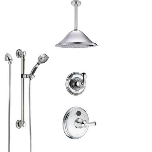Delta Cassidy Chrome Finish Shower System with Temp2O Control, 3-Setting Diverter, Ceiling Mount Showerhead, and Hand Shower with Grab Bar SS140023