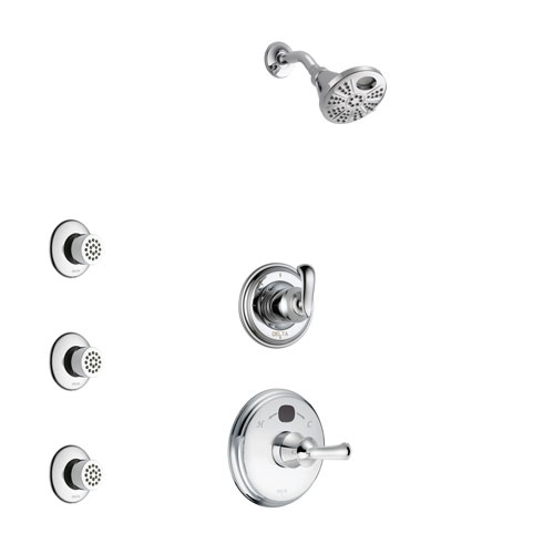 Delta Cassidy Chrome Finish Shower System with Temp2O Control Handle, 3-Setting Diverter, Showerhead, and 3 Body Sprays SS140026