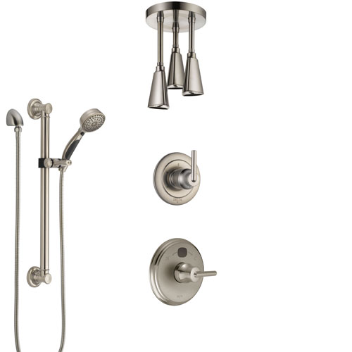 Delta Trinsic Stainless Steel Finish Shower System with Temp2O Control, Diverter, Ceiling Mount Showerhead, and Hand Shower with Grab Bar SS14002SS4