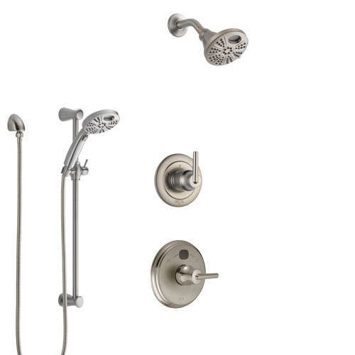 Delta Trinsic Stainless Steel Finish Shower System with Temp2O Control Handle, 3-Setting Diverter, Showerhead, and Hand Shower w/ Slidebar SS14002SS6