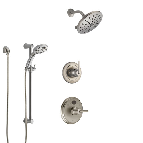 Delta Trinsic Stainless Steel Finish Shower System with Temp2O Control Handle, 3-Setting Diverter, Showerhead, and Hand Shower w/ Slidebar SS14002SS7