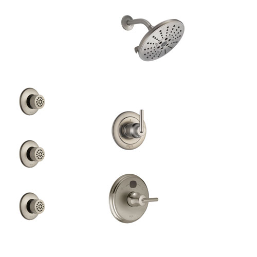 Delta Trinsic Stainless Steel Finish Shower System with Temp2O Control Handle, 3-Setting Diverter, Showerhead, and 3 Body Sprays SS14002SS9
