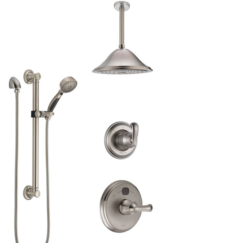 Delta Cassidy Stainless Steel Finish Shower System with Temp2O Control, Diverter, Ceiling Mount Showerhead, and Hand Shower with Grab Bar SS14003SS2