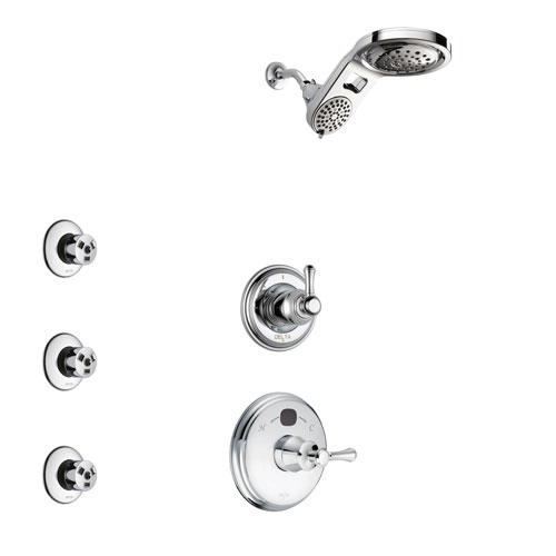 Delta Cassidy Chrome Finish Shower System with Temp2O Control Handle, 3-Setting Diverter, Dual Showerhead, and 3 Body Sprays SS140048
