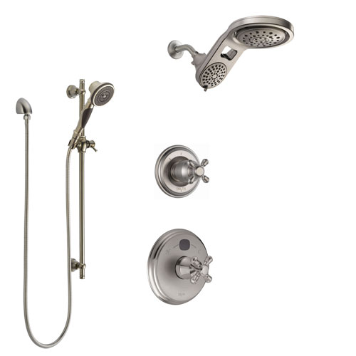 Delta Cassidy Stainless Steel Finish Shower System with Temp2O Control, 3-Setting Diverter, Dual Showerhead, and Hand Shower with Slidebar SS14004SS3