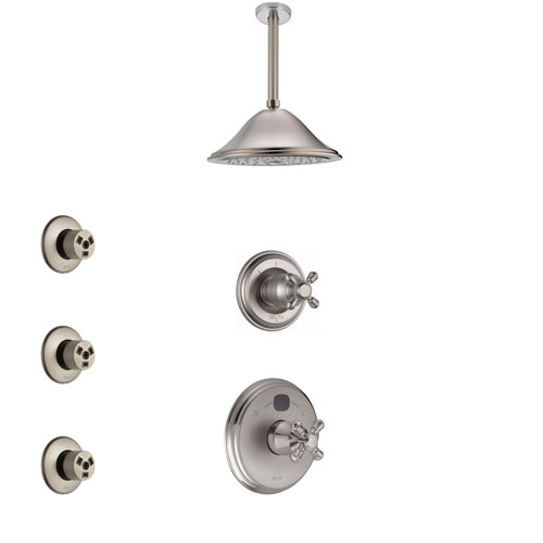 Delta Cassidy Stainless Steel Finish Shower System with Temp2O Control, 3-Setting Diverter, Ceiling Mount Showerhead, and 3 Body Sprays SS14004SS6