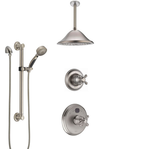 Delta Cassidy Stainless Steel Finish Shower System with Temp2O Control, Diverter, Ceiling Mount Showerhead, and Hand Shower with Grab Bar SS14004SS7