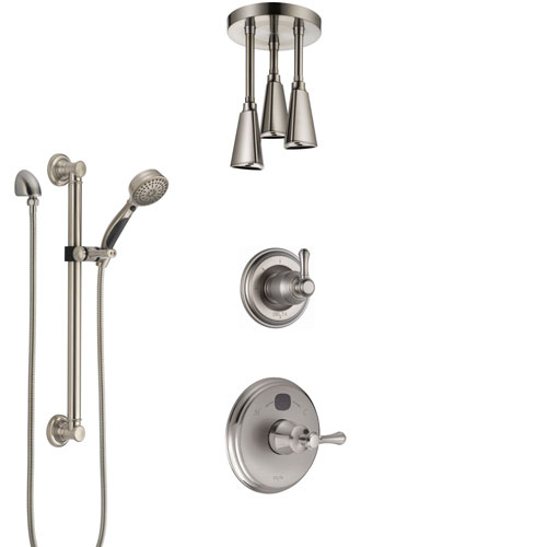 Delta Cassidy Stainless Steel Finish Shower System with Temp2O Control, Diverter, Ceiling Mount Showerhead, and Hand Shower with Grab Bar SS14005SS5