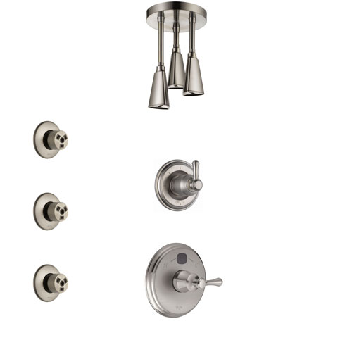 Delta Cassidy Stainless Steel Finish Shower System with Temp2O Control, 3-Setting Diverter, Ceiling Mount Showerhead, and 3 Body Sprays SS14005SS6
