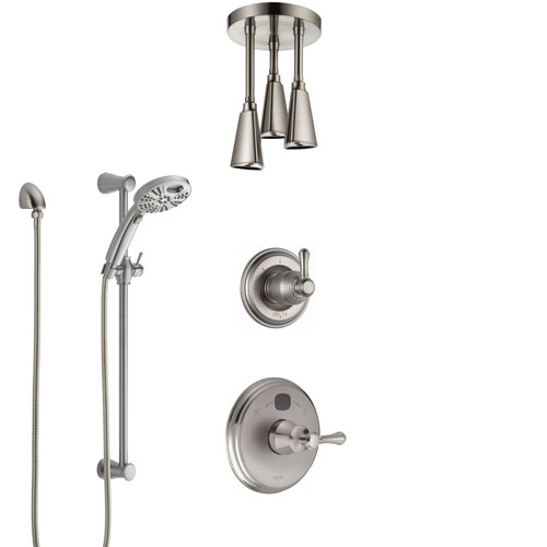 Delta Cassidy Stainless Steel Finish Shower System with Temp2O Control, Diverter, Ceiling Mount Showerhead, and Hand Shower with Slidebar SS14005SS7