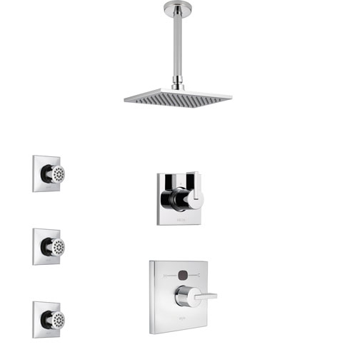 Delta Vero Chrome Finish Shower System with Temp2O Control Handle, 3-Setting Diverter, Ceiling Mount Showerhead, and 3 Body Sprays SS140113