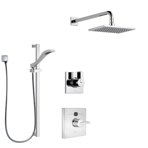 Delta Vero Chrome Finish Shower System with Temp2O Control Handle, 3-Setting Diverter, Showerhead, and Hand Shower with Slidebar SS140117