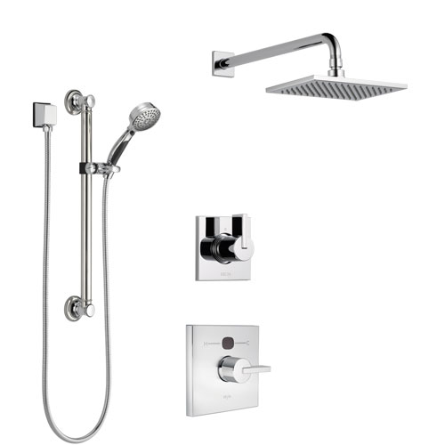 Delta Vero Chrome Finish Shower System with Temp2O Control Handle, 3-Setting Diverter, Showerhead, and Hand Shower with Grab Bar SS140118