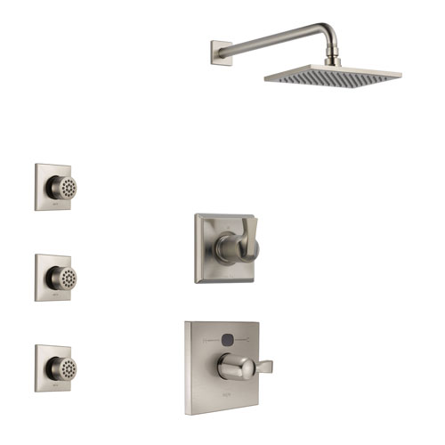 Delta Dryden Stainless Steel Finish Shower System with Temp2O Control Handle, 3-Setting Diverter, Showerhead, and 3 Body Sprays SS14011SS10