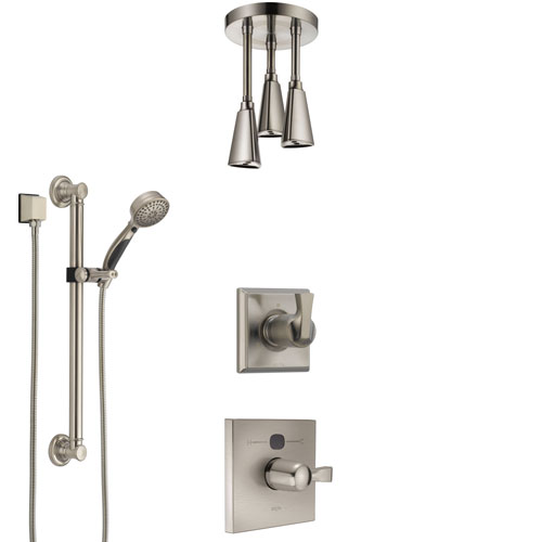 Delta Dryden Stainless Steel Finish Shower System with Temp2O Control, Diverter, Ceiling Mount Showerhead, and Hand Shower with Grab Bar SS14011SS4
