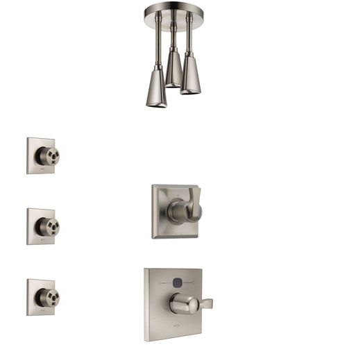 Delta Dryden Stainless Steel Finish Shower System with Temp2O Control, 3-Setting Diverter, Ceiling Mount Showerhead, and 3 Body Sprays SS14011SS5