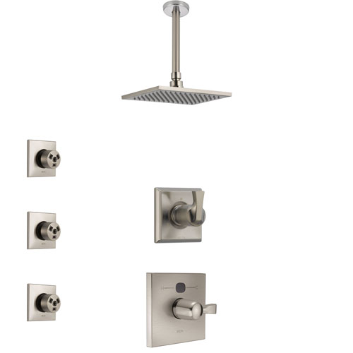Delta Dryden Stainless Steel Finish Shower System with Temp2O Control, 3-Setting Diverter, Ceiling Mount Showerhead, and 3 Body Sprays SS14011SS6