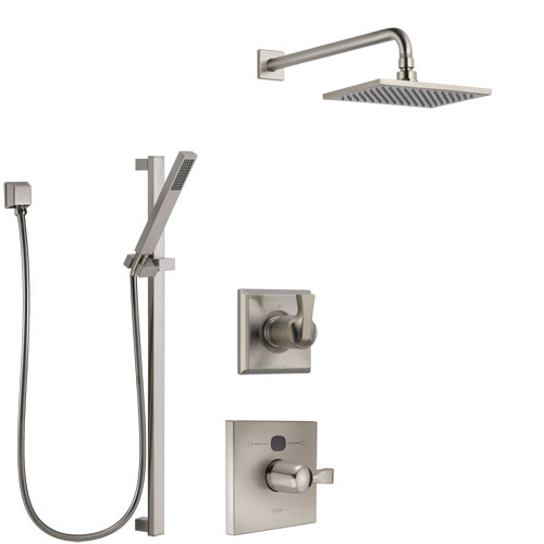 Delta Dryden Stainless Steel Finish Shower System with Temp2O Control Handle, 3-Setting Diverter, Showerhead, and Hand Shower with Slidebar SS14011SS9