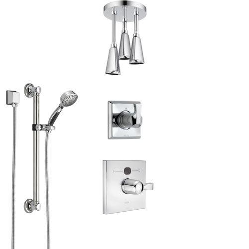 Delta Dryden Chrome Finish Shower System with Temp2O Control, 3-Setting Diverter, Ceiling Mount Showerhead, and Hand Shower with Grab Bar SS140124