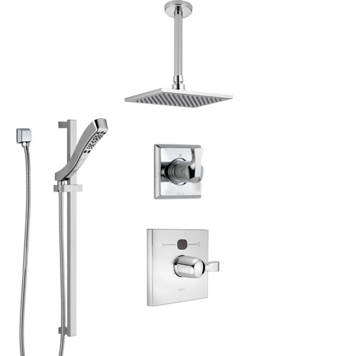 Delta Dryden Chrome Finish Shower System with Temp2O Control, 3-Setting Diverter, Ceiling Mount Showerhead, and Hand Shower with Slidebar SS140127