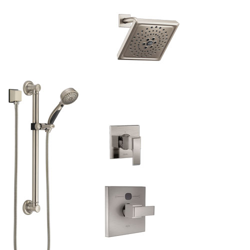 Delta Ara Stainless Steel Finish Shower System with Temp2O Control Handle, 3-Setting Diverter, Showerhead, and Hand Shower with Grab Bar SS14012SS4