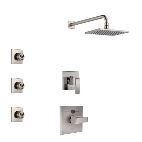 Delta Ara Stainless Steel Finish Shower System with Temp2O Control Handle, 3-Setting Diverter, Showerhead, and 3 Body Sprays SS14012SS7