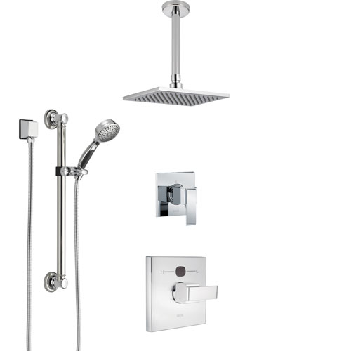 Delta Ara Chrome Finish Shower System with Temp2O Control Handle, 3-Setting Diverter, Ceiling Mount Showerhead, and Hand Shower with Grab Bar SS140131